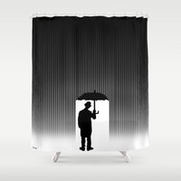 chaplin Shower Curtains featuring Charlie Chaplin Under The Rain by Adel