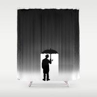 charlie chaplin Shower Curtains featuring Charlie Chaplin Under The Rain by Adel
