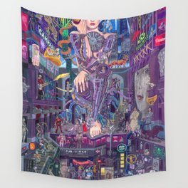 Android Eva and the Electric Apple Wall Tapestry