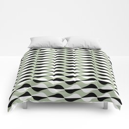 Black and White Retro Shapes on a Vintage Blue Background Comforters