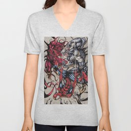 Spider Fight, Man. Unisex V-Neck