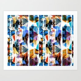 Colorful brushed stripes painting Art Print