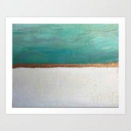 Northern Lights (teal)  Encaustic Painting Art Print