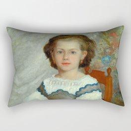 "Auguste Renoir ""Mademoiselle Romaine Lacaux"" Rectangular Pillow"