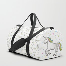 Unicorns and Stars - White and Rainbow scatter pattern Duffle Bag