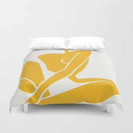 Sitting nude in yellow Duvet Cover