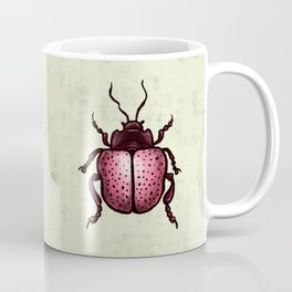 Pink Beetle With Dots Insect Art Coffee Mug