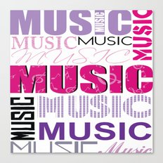 The Word Music In Purple and Pink Canvas Print