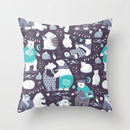 Arctic bear pajamas party Throw Pillow
