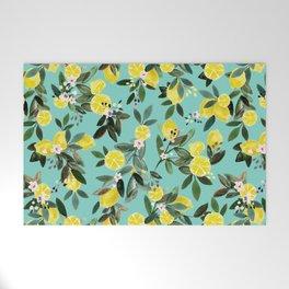 Summer Lemon Floral Welcome Mat