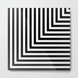Black and White L Stripes // www.pencilmeinstationery.com Metal Print