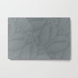 Fancy Leaves Scroll Damask Night Watch Pewter Green Pattern Metal Print