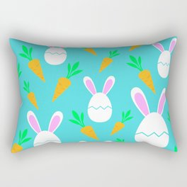 Happy Bunnies & Carrots | Easter Bunny | Easter Egg Bunny | pulps of wood Rectangular Pillow
