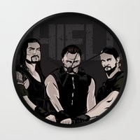 wwe Wall Clocks featuring WWE - The Shield by Chaotic Color