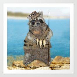 Raccoon Fisherman Art Print