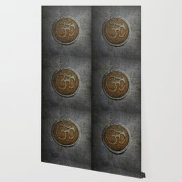 The sound of the Universe. Gold Ohm Sign On Stone Wallpaper