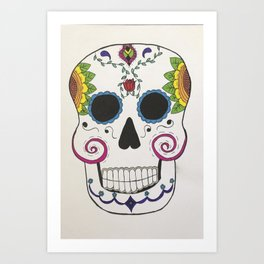 Day of the Dead Skull in Color Art Print