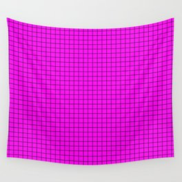 Pink Grid Black Line Wall Tapestry
