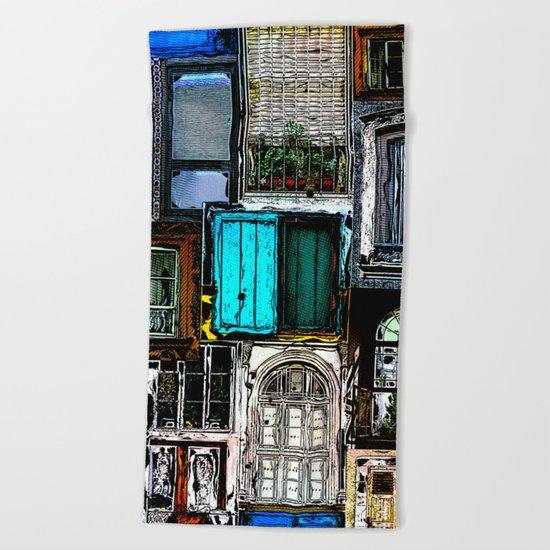 Textural Windows Collage Beach Towel