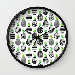 Black & White Pineapples Wall Clock