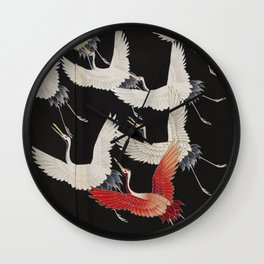 Furisode with a Myriad of Flying Cranes (Japan) Wall Clock