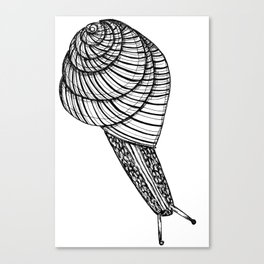 Black and White Snail Canvas Print