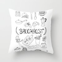 breakfast Throw Pillows featuring Breakfast by Brooke Weeber