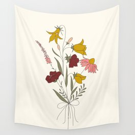 Wildflowers Bouquet Wall Tapestry