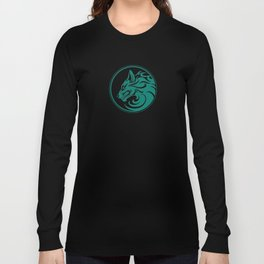 Teal Blue Growling Wolf Disc Long Sleeve T-shirt