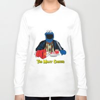 elmo Long Sleeve T-shirts featuring Too Many Cookies by Shawn Hall Design