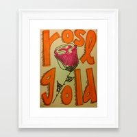 rose gold Framed Art Prints featuring Rose Gold by Eve Beth