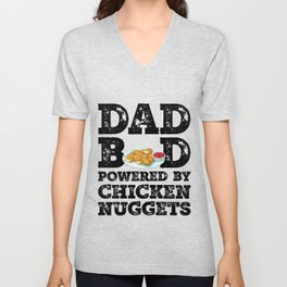 Dad Bod Powered By Chicken Nuggets Father Figure Gifts Idea with Funny Graphic for Food Lovers Unisex V-Neck