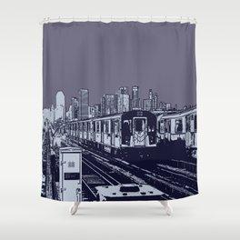 New York, NYC, Subway Train Yard at Night. (Photo collage, travel, gritty streets, graffiti) Shower Curtain