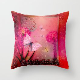 Wonderful butterflies with dragonfly Throw Pillow