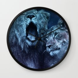 Galaxy Lion Colorful Couple Wall Clock