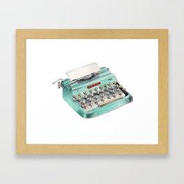 Vintage typewriter watercolor illustration Framed Art Print