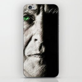 Black and white painting - Man with one green eye - Jeanpaul Ferro iPhone Skin