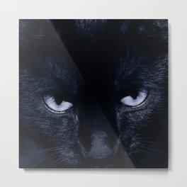 Black Cat in Violet - My Familiar Metal Print