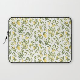 Bright Yellow Watercolor Lemons and Leaves Laptop Sleeve