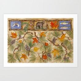 Autumn with Pine Art Print