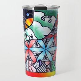 The psychedelic pyramid & DMT landscape Travel Mug