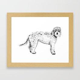 Labradoodle/Goldendoodle Ink Drawing Framed Art Print