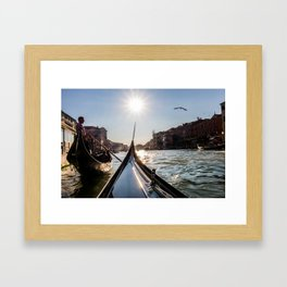 Gondoliers on The Grand Canal, Venice, Italy Framed Art Print