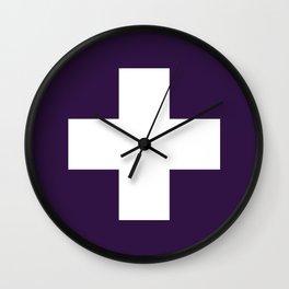 Swiss Cross Purple Wall Clock