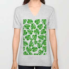 Modern hand painted green yellow watercolor monster leaves Unisex V-Neck