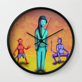 Demons Stalking Blue Girl Wall Clock