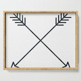 Arrows - Black and White Arrow Adventure Wanderlust Vintage Compass Design Serving Tray