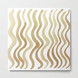 Wavy lines - sand Metal Print