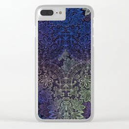 lace weave in deep blues Clear iPhone Case