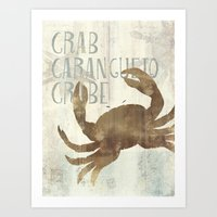 crab Art Prints featuring crab by M Maia Art